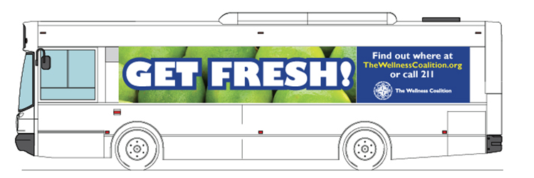 Transit window wrap for Get Fresh! Campaign for The Wellness Coalition.